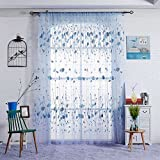 Sunsoaruk Romantic Leaf Voile Window Curtain Sheer Panel Tulle Curtains for Bedroom Living Room Home Decoration