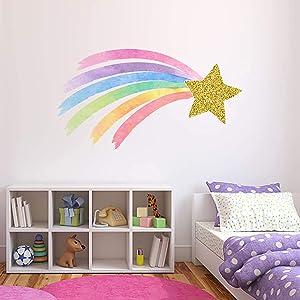 "Shooting Star Rainbow Wall Decal Pastel Watercolor Unicorn Nursery Girls Bedroom Decor Gold Star & Rainbow Wall Decor ND03 (24""W x 14""H inches)"