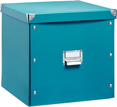 Zeller 17844 Caja de almacenaje de cartón Azul (Petróleo) 33.5 x ...