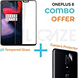OnePlus 6 Tempered Glass - REAL CRAZE Full Glue OnePlus 6 Tempered Glass, Full Edge-Edge Screen Protection for 1+6 OnePlus 6 (Combo)