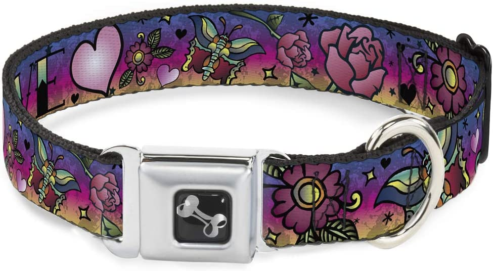 Dog Collar Seatbelt Buckle Love Love Purple 16 to 23 Inches 1.5 Inch Wide