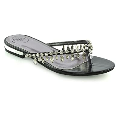 8b36e5d0e597 ESSEX GLAM Womens Flip Flop Diamante Sandals Ladies Sparkly Toe Post Holiday  Beach Slider