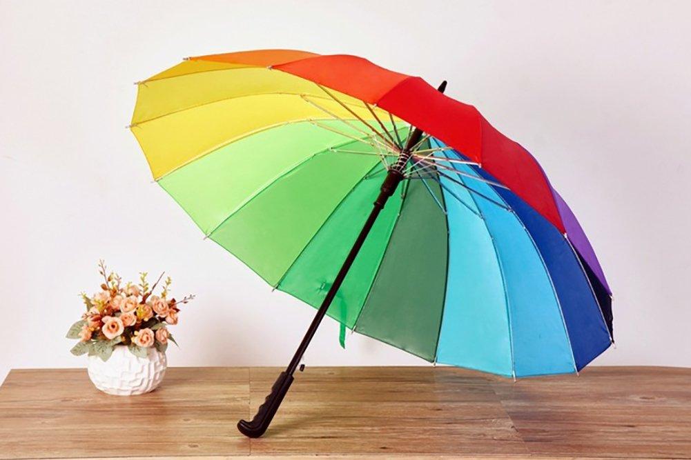 Chakil - Paraguas de arcoíris Resistente al Viento, Mango Largo automático, Paraguas Recto, Lengua de Pato: Amazon.es: Jardín