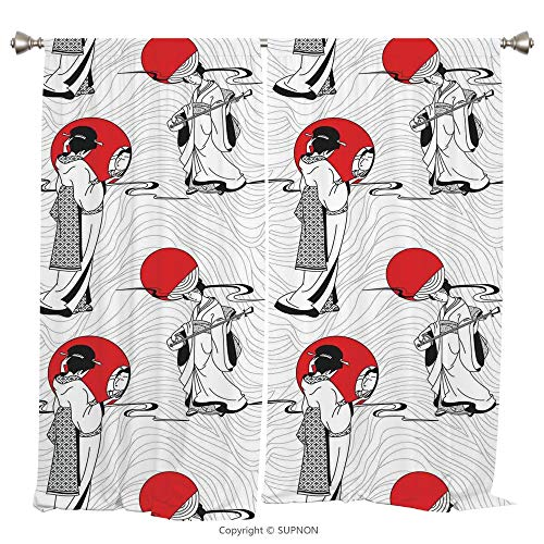 Rod Pocket Curtain Panel Thermal Insulated Blackout Curtains for Bedroom Living Room Dorm Kitchen Cafe/2 Curtain Panels/108 x 108 Inch/Asian,Japanese Geisha Girl with Traditional Kimono Folk Culture S