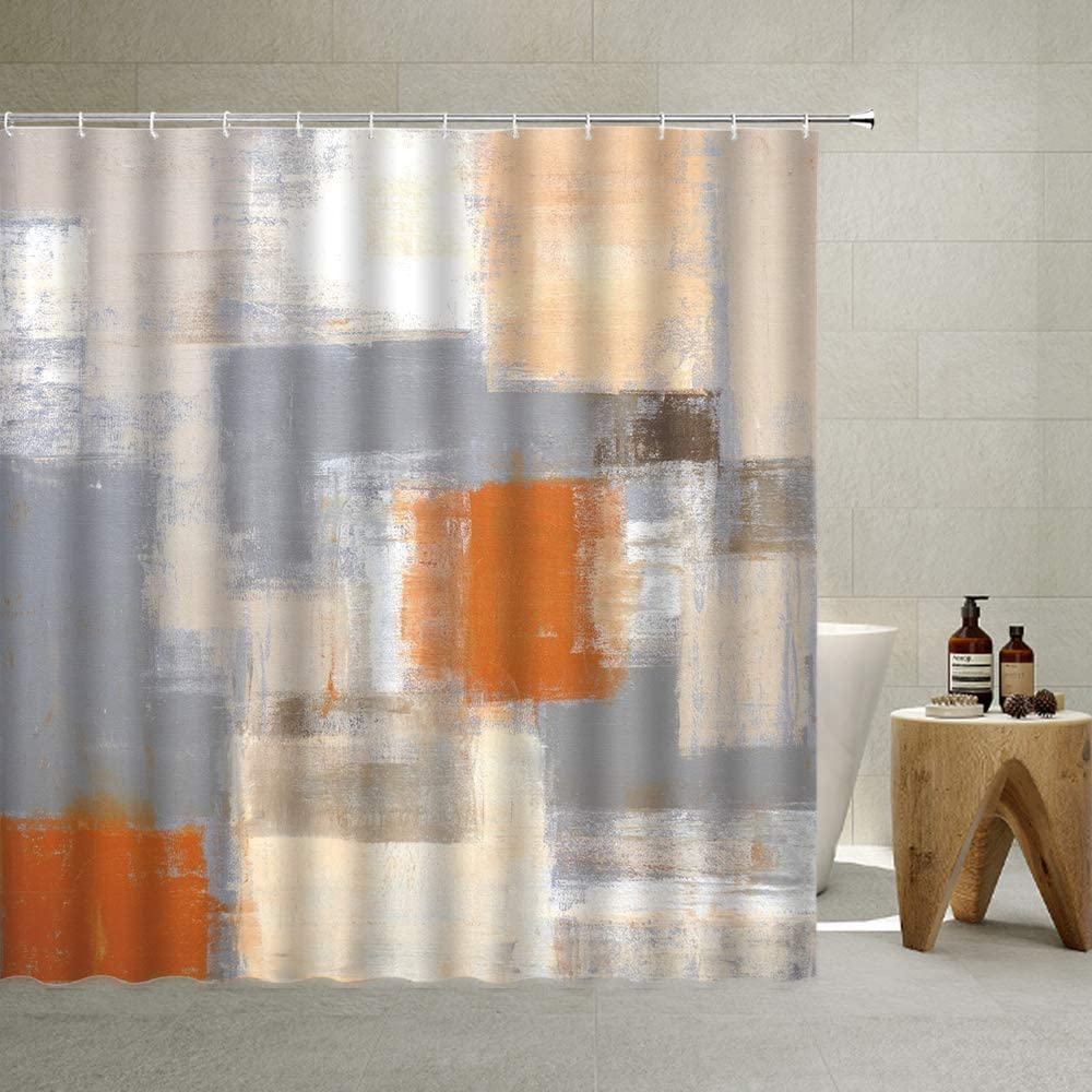 Abstract Fabric Shower Curtain Rustic Decor,Orange and Gray Oil Painting Splicing Art Soft Color Design, Messy Graffiti Impressionist Artwork,Home Fashion Polyester 70 X 70 Inch (Khaki, 70 X 70 Inch)