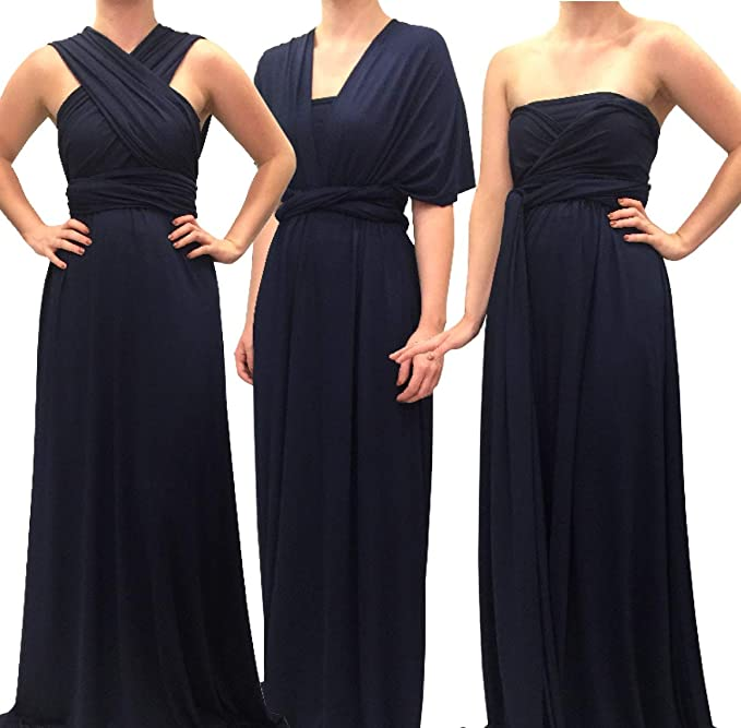 b736cb88a8 Image Unavailable. Image not available for. Colour: 4Now Fashions Long Navy  Blue Infinity Bridesmaid Dress Convertible Multiway