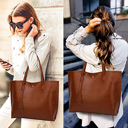 Dccn tout Pu Epaule Simple En Femme Sac Marron Portes Cuir Vogue Main À Bandoulière Grand Fourre rqx1zUwr