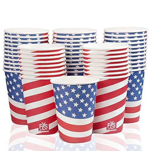 Patriotic Coffee Cups 12 oz. from FLYSPRO - Paper Hot Cups with U.S. Flag Decoration, Pack of 50