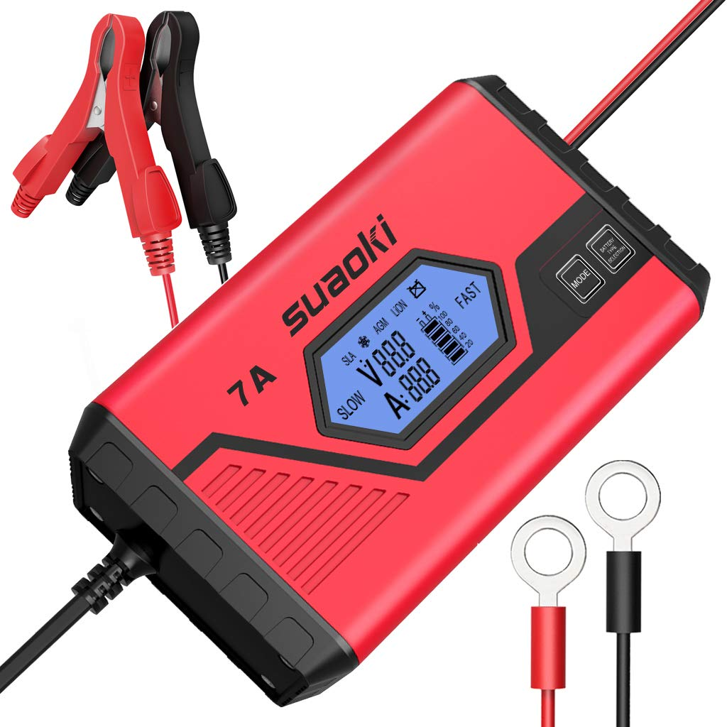 SUAOKI 7A Fast Car Battery Charger Maintainer Ultra-Safe Smart 9-Stage Automatic (Charges, Maintains, Diagnose and Reconditions Car and Motorcycle Batteries) For All 12V Batteries- UK Plug