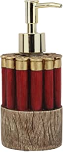 """Ebros Western 12 Gauge Shotgun Shells Ammo Bullets Round Magazine Kitchen Vanity Bathroom Countertop Soap Dispenser 7""""High with Gold Trim Nozzle Head As Country Rustic Home Decor Figurine Dispensers"""