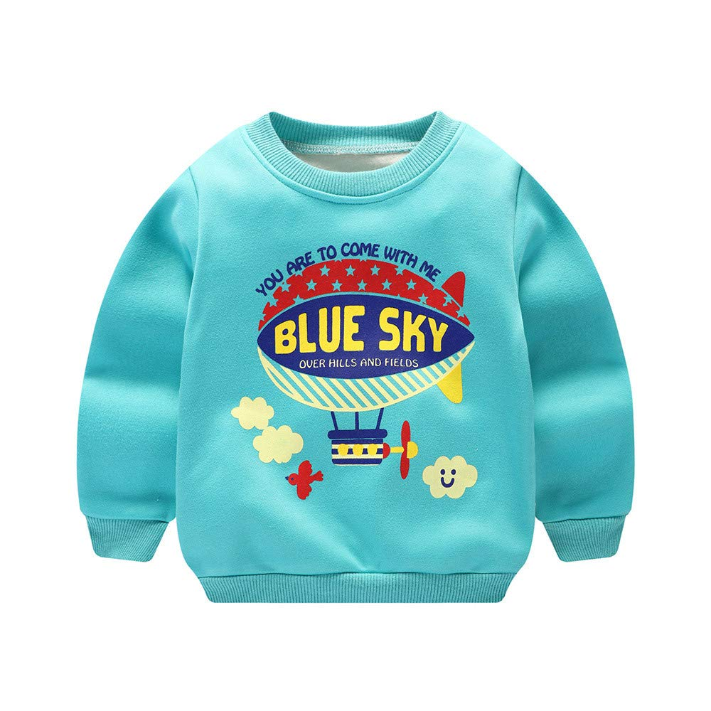 Zerototens Children Sweatshirt, 0-3 Years Old Toddler Kids Clothes Boy Girl Cartoon Letter Print Pullover Tops Autumn Winter Thick Warm Plush Tops Basic T-Shirt Casual Outfit Clothes