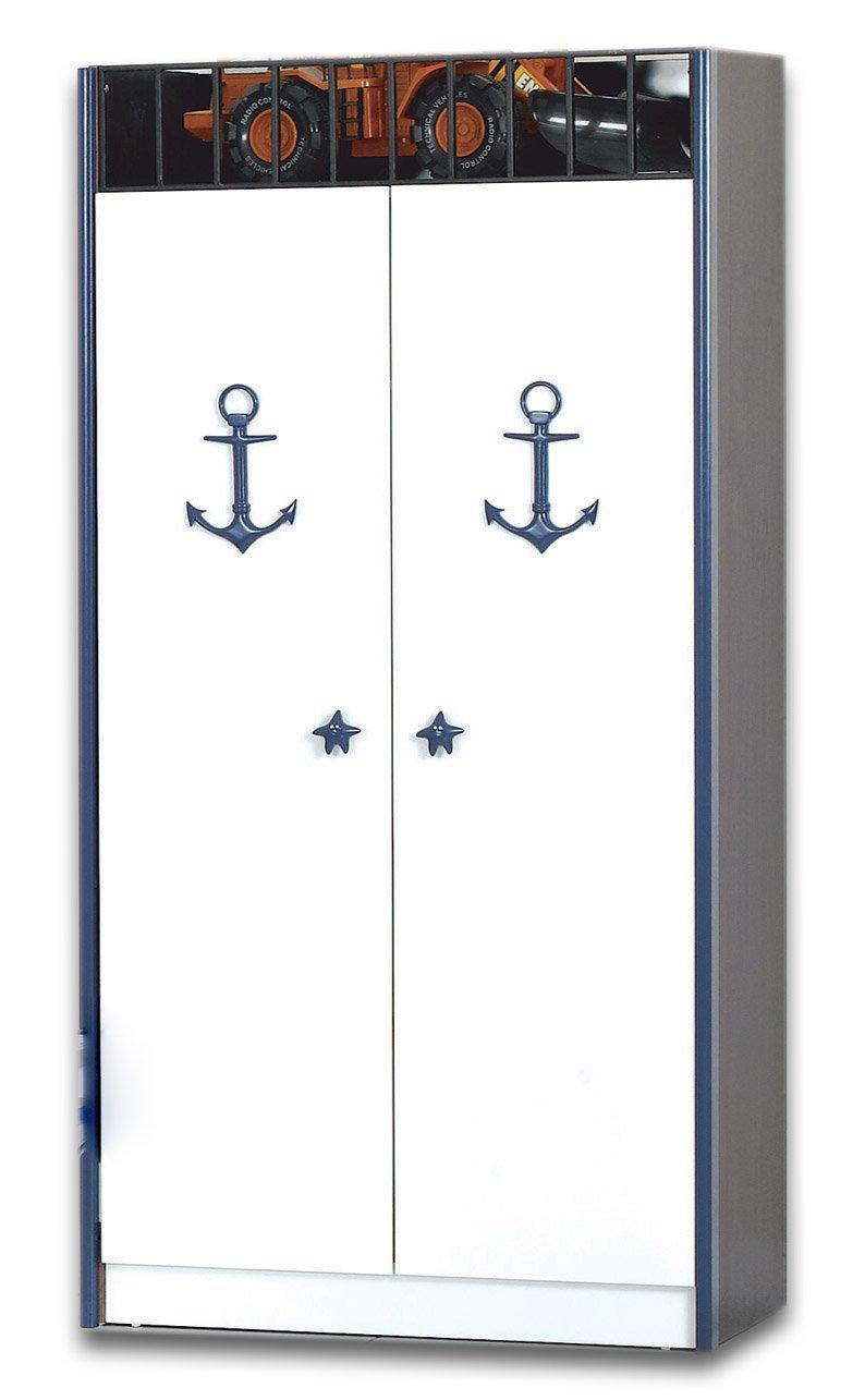 Kapitän / Piraten Kleiderschrank weiß, blau, schwarz, Kinderzimmer ...