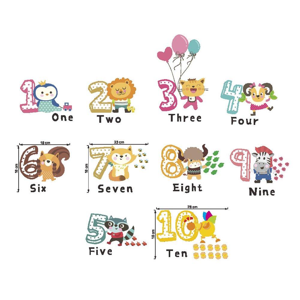 Slendima 35.43インチ x 11.81インチ キュートな漫画の動物番号取り外し可能な壁ステッカー 子供の赤ちゃんの寝室 ホームインテリア 教育ツール 1 5KKE0520I0LIXM200BCKE B07GJPR13P  1 1