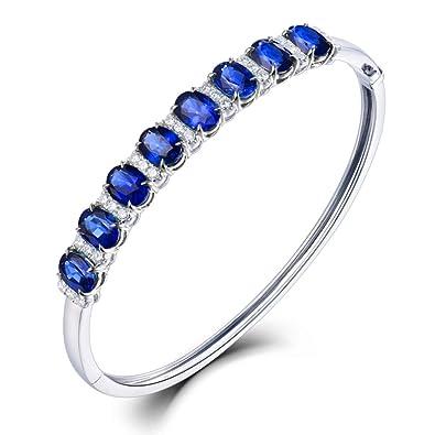 pas mal b2639 3b7b5 Or blanc 18 carats Saphir bleu Bracelet avec véritables ...