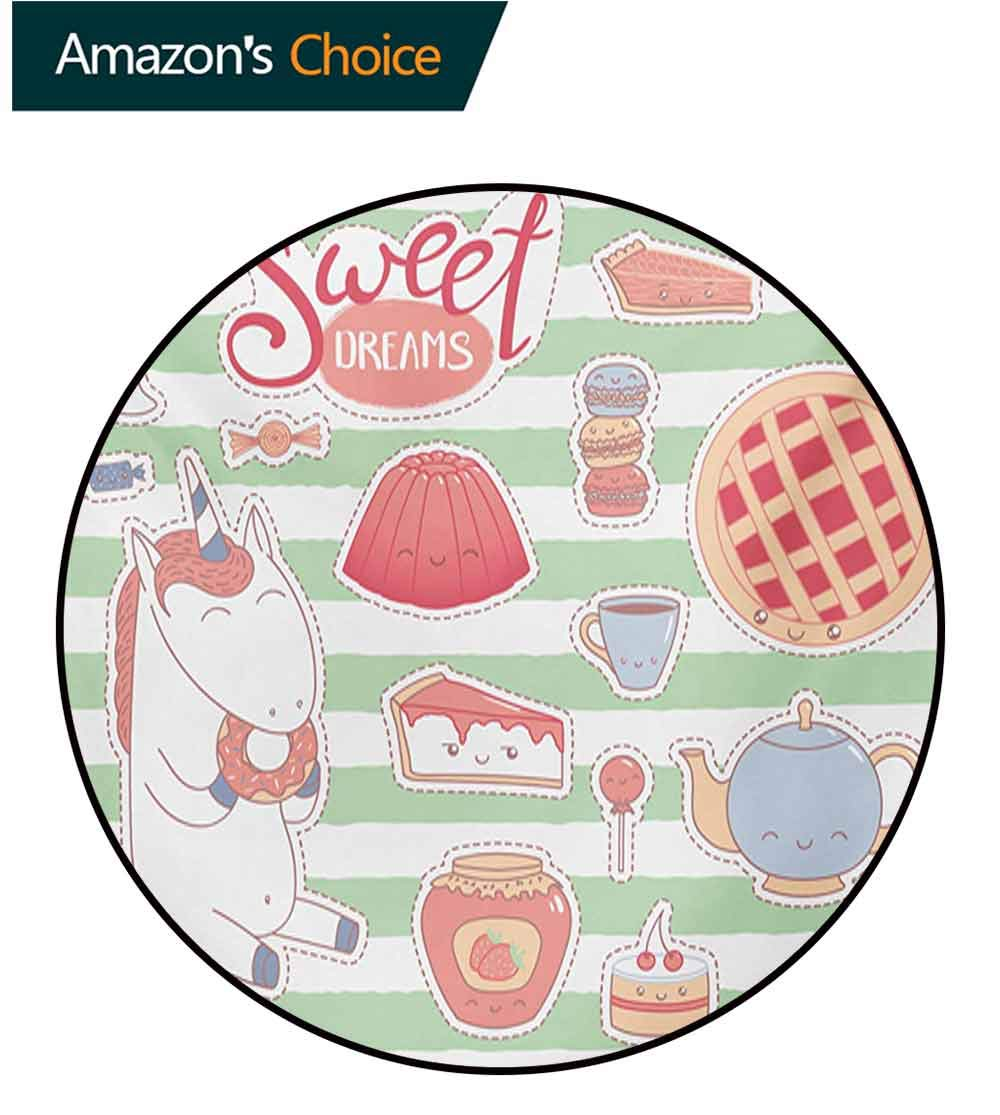 RUGSMAT Sweet Dreams Computer Chair Floor Mat,Various Desserts in Cartoon Style Funny On Green Stripes Unicorn Eating Donut Printed Round Carpet for Children Bedroom Play Tent,Round-63 Inch