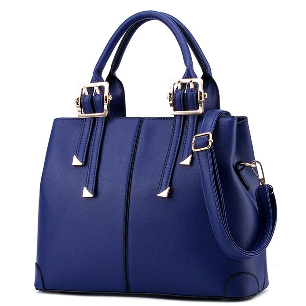 Suyi Womens Vintage PU leather Tote Satchel Handbag Shoulder Bag Cross Body Bags Blue