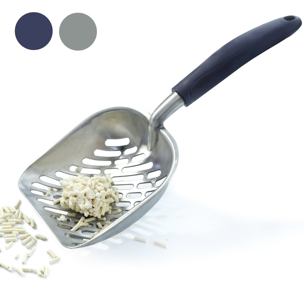 Vivaglory Cat Litter Scoop Durable Metal Litter Scoop for Kitty Sifter with Deep Shovel and Ergonomic Handle Made of Heavy Duty Solid Aluminum Jumbo Size 1PC