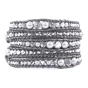 13dd01f2a4015 Image Unavailable. Image not available for. Color  Chan Luu Grey Pearl Mix  Graduated Wrap Bracelet ...