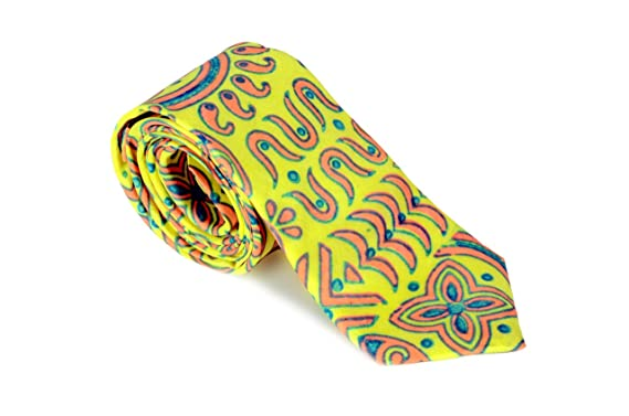 Woodblock - Corbata - para hombre Amarillo Mostaza 142, 24 cm x 3 ...