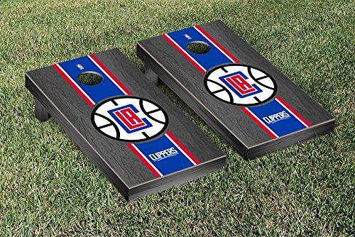 Los Angeles LA Clippers NBA Basketball Regulation Cornhole Game Set Onyx Stained Stripe Version by Victory Tailgate