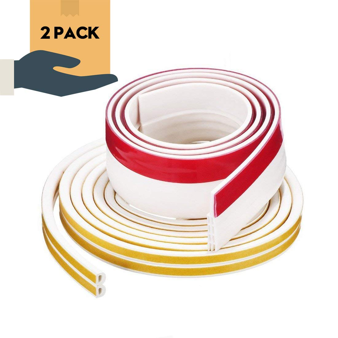 """Soundproof Weather Stripping Door Draft Stopper Kit White,16Ft Self Adhesive Windows Weatherstrips And 39"""" Length Door Sweep Wind Dust Draft And Insect Proof Seal Rubber Door Strips To Seal Door Crack"""