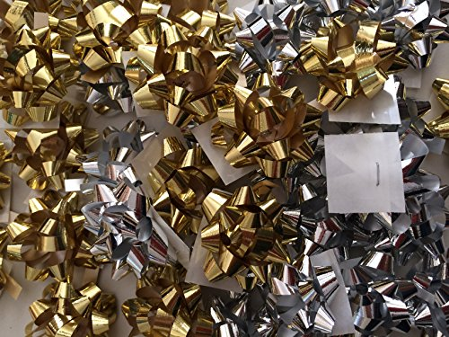 PEPPERLONELY Brand 20PC Metallic Christmas Confetti Gift Bows, Silver & Gold, Mini Size 1-1/4
