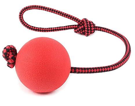 bestwoohome elástica de goma maciza bola mascota masticar juguete con cuerda para perros/gatos