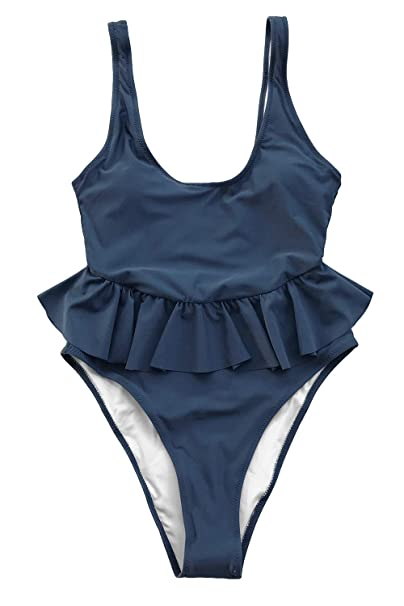 CUPSHE Womens Stay with You Falbala Halter Padding One-Piece Swimsuit