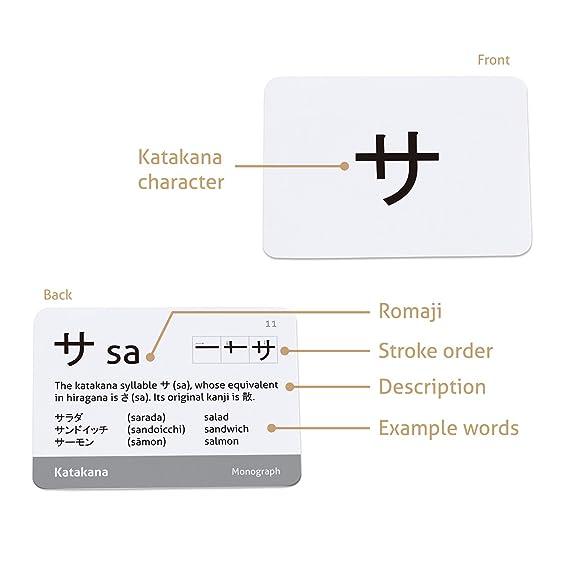 amazon com: carddia japanese syllabary - katakana (with stroke-order  diagrams and example words): toys & games