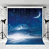 Kate 10X10ft Stars Sky Fantasy Photography Backdrops Sliver White Moon Cloud Background for Photographer Photo Studio Backdrop