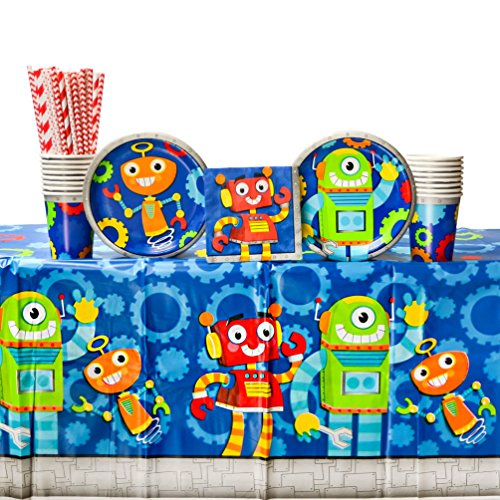 Party Robots Birthday Party Supplies Pack for 16 Guests: Straws, Dessert Plates, Beverage Napkins, Table Cover, and - Robot Supplies