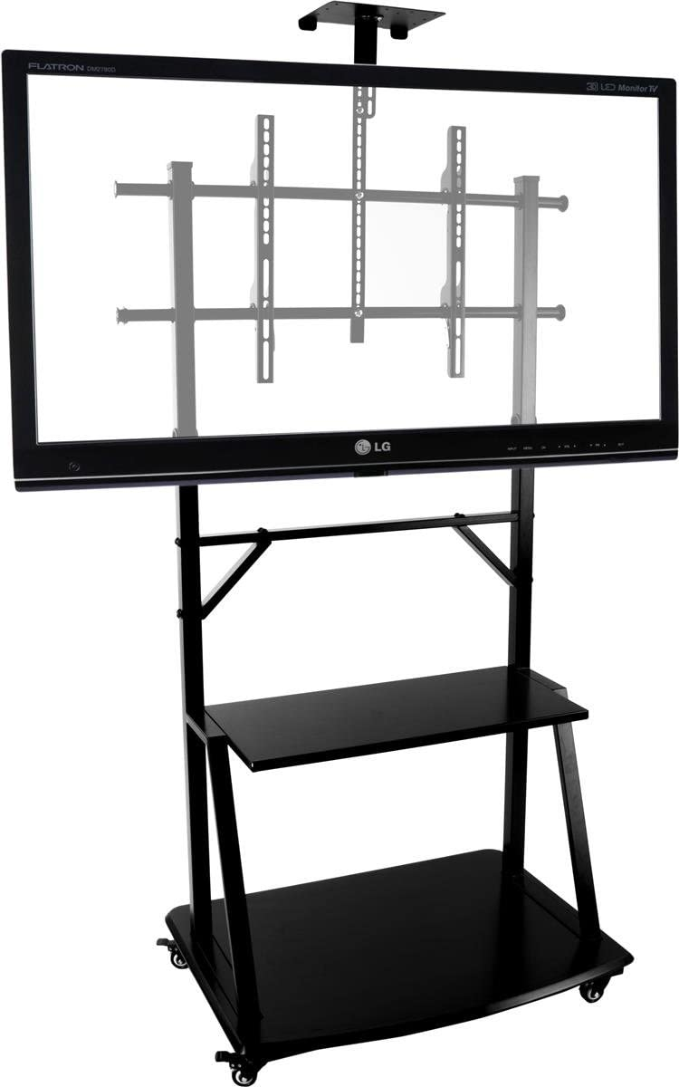 Flat Panel TV Stand with Mount for 37 to 90 Monitors, Includes Video Camera Shelf and 2 Shelves, Locking Wheels, Aluminum Steel Black