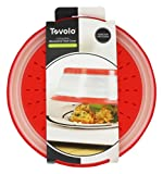 """Tovolo Vented Collapsible Microwave Food Cover With Easy Grip Handle, Dishwasher-Safe, BPA-Free Silicone & Plastic, 10.5"""" Round, Red"""