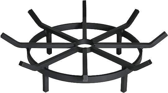 SteelHome Heavy Duty Wagon Wheel Firewood Grate for Fire Pit 20 Inch Diameter