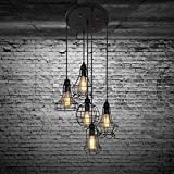 Industrial Set of Cage Lighting Fixture -LITFAD Rustic Barn Metal Chandelier Max 200w with 5 Cage Lights Black Finish,Vintage Creative Pendant Light