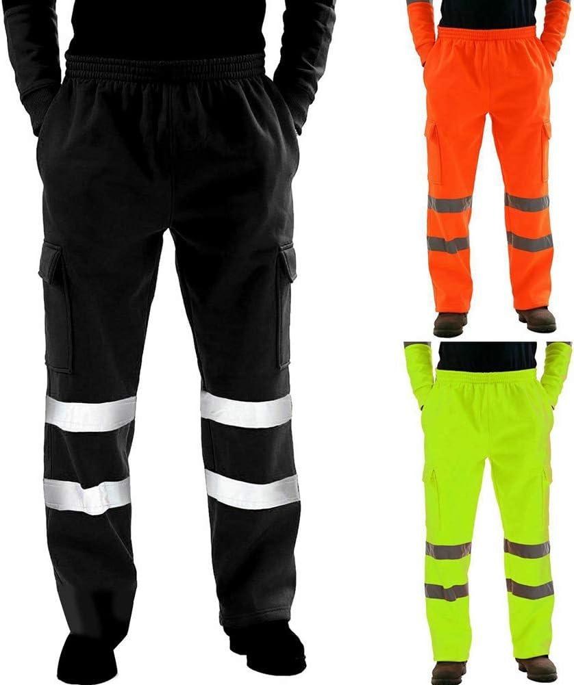 KimcHisxXv Kimilike Arbeitshosen,Bundhose 2-Farbiges Mischgewebe Hochwertiges In 2 Fluoreszierenden Farben Mit Reflexstreifen,Schwarz//Gelb//Gr/üN//Orange