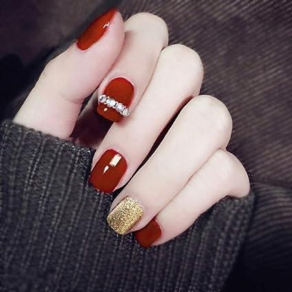 Mimei 24 Piezas Uñas Postizas Rojos, Negra y Blancas con Punto de Ola, Uñas