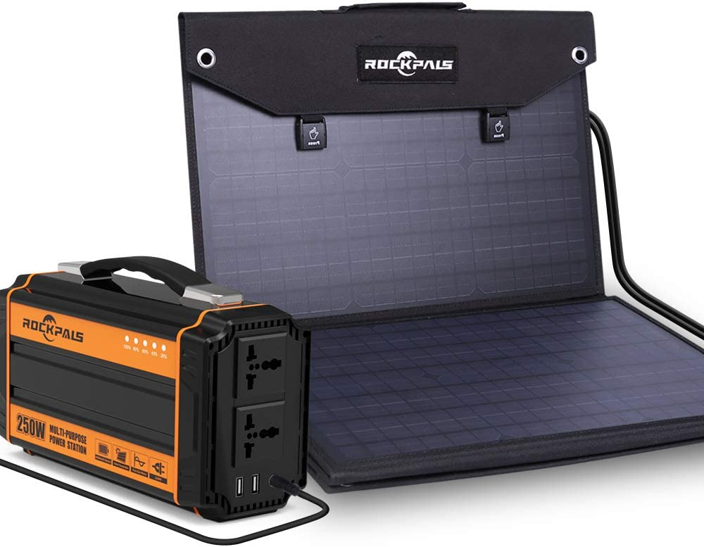 ROCKPALS 250W Portable Power Station and ROCKPALS 100W Solar Panel, Great Solar Generator for Backup Power, Outdoor Adventure and Camping