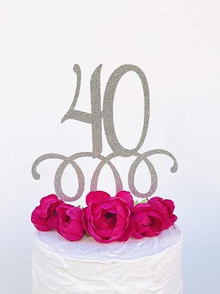 Decoración para tarta con purpurina para 40 cumpleaños, 40 ...