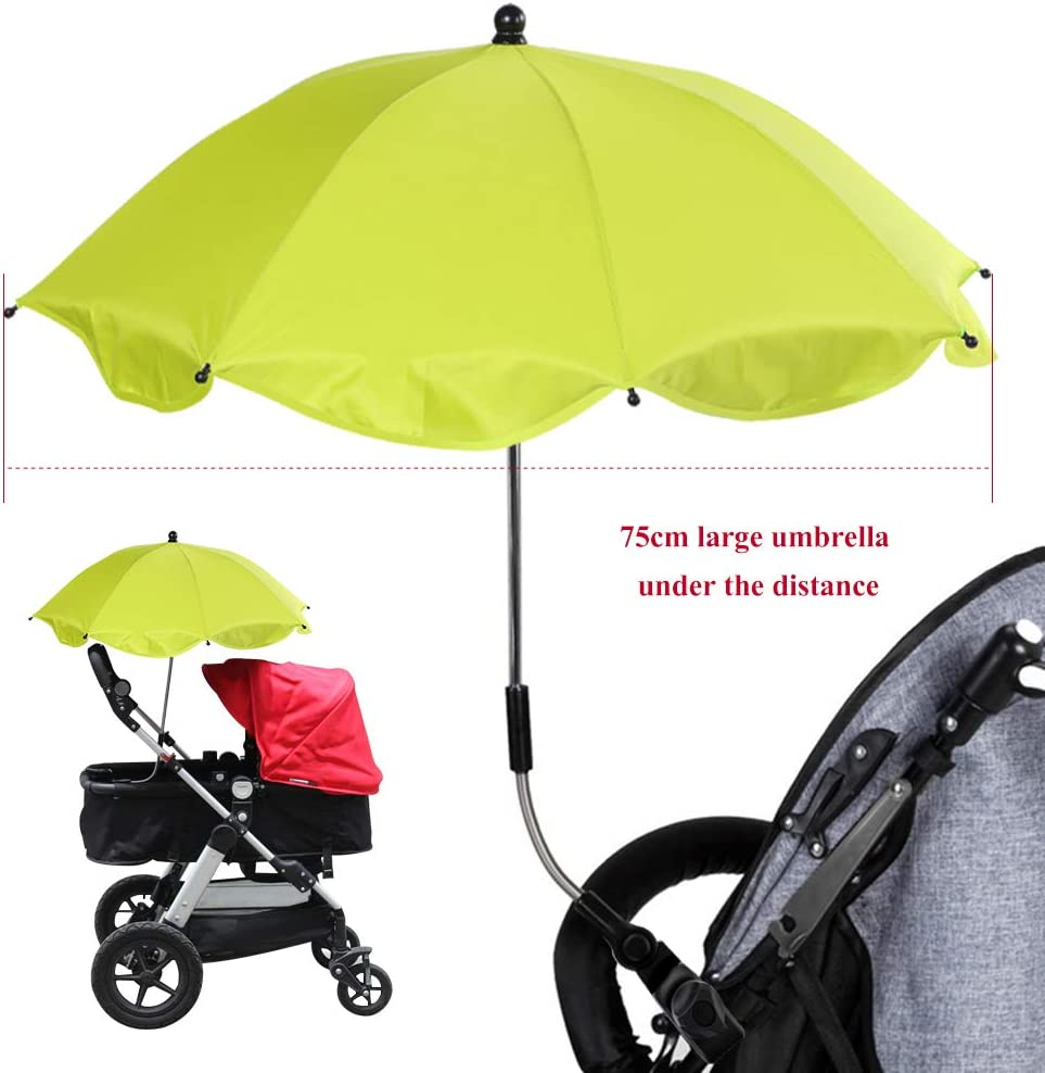 Urijk Stretchable Baby Pram Stroller Chair Sun Cover with Umbrella Bar Holder Mount Stand,Bicycle Umbrella Holder Clip Clamp,Baby Stroller Cover Parasol for Sun Rain Protection UV Rays Umbrella