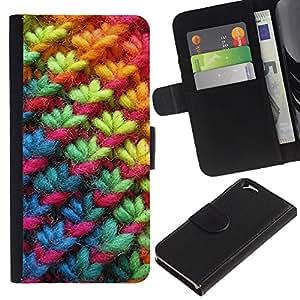 EJOY---La carpeta del tirón la caja de cuero de alta calidad de la PU Caso protector / Apple Iphone 6 / --Rainbow Pink Tela Invierno