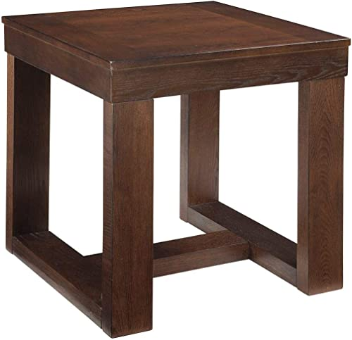 Signature Design by Ashley – Watson Contemporary Distressed Square End Table, Dark Brown