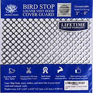 """New Aroma Trees Dryer Vent Bird Stop - Dryer Vent Grill - Pest Guard - Stops Birds Nesting In Dryer Vents, Customizable 3"""" - 8"""" (The Plastic Louvered Vent Cover NOT INCLUDED)"""