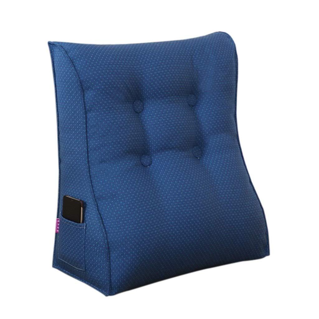 三角形のウェッジヒールクッション背もたれ綿のソファベッド背もたれ枕取り外し可能な洗えるブラウンブルーマルチサイズオプション (色 : 青, サイズ さいず : 45*50*20cm) B07R9PWGVK 青 45*50*20cm