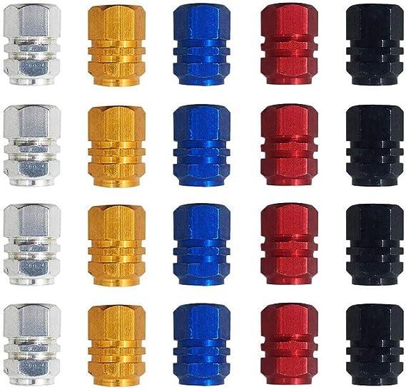 Gobesty Farbe Ventilkappen Auto 20 Stück Reifenventil Staubkappen Auto Staubschutzkappen Autoventilkappen Für Motorbiketrucks Fahrrad Motorrad Gold Silber Rot Blau Schwarz Auto