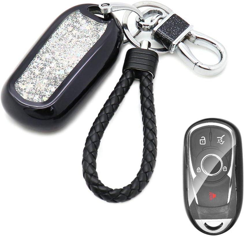 Senauto Quicksand Full Cover Key Fob Cover Case Key Chain for 2017 2018 2019 Buick Encore Envision Lacrosse Regal Silver