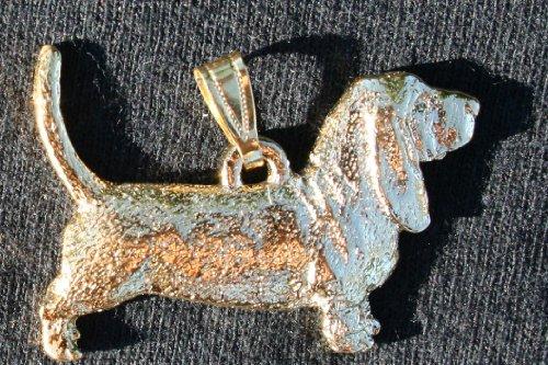 Bassett Hound Dog 24k Gold Plated Pewter Pendant