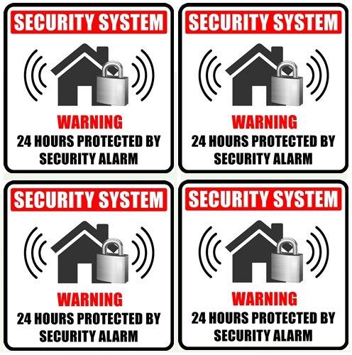 """Outdoor/Indoor (4 Pack) 4"""" X 4"""" Home Business Security Burglar Alarm System Window Door Warning Sign Vinyl Label Sticker Decals - Back Self Adhesive Vinyl"""