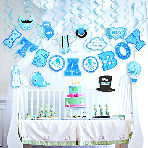 Baby Shower Decorations for Boy | 29 Pieces Set Includes: It's a Boy Banner (10 feet) + Hanging Decorations in Blue & Light Blue, Cute and Classic Decor | Perfect (Eco Friendly Invitations)