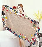 familytaste Vintage Adults Soft Absorbent Quick Dry Blanket Buttons Collection Fabric Texture Canvas Frame Sewing Needlecraft Contemporary Picture Large Bath Towel Light Brown